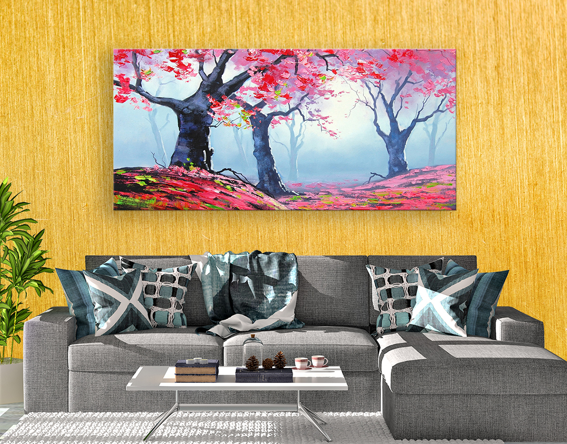 Painted spring forest