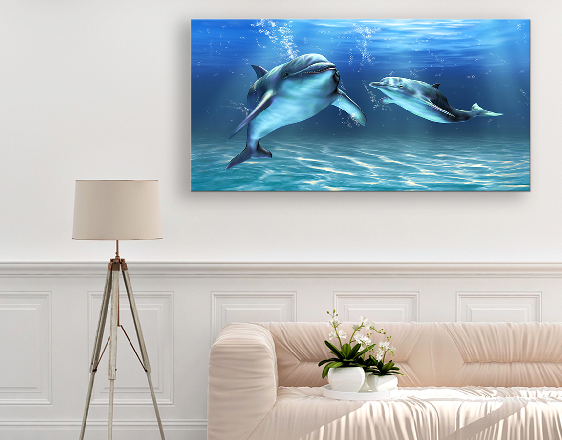 Happy swimming dolphins