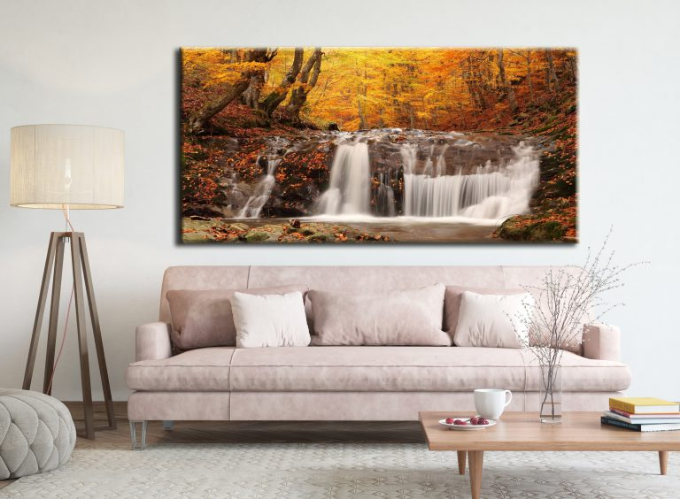 Big wall art pictures of an Autumn stream canvas prints