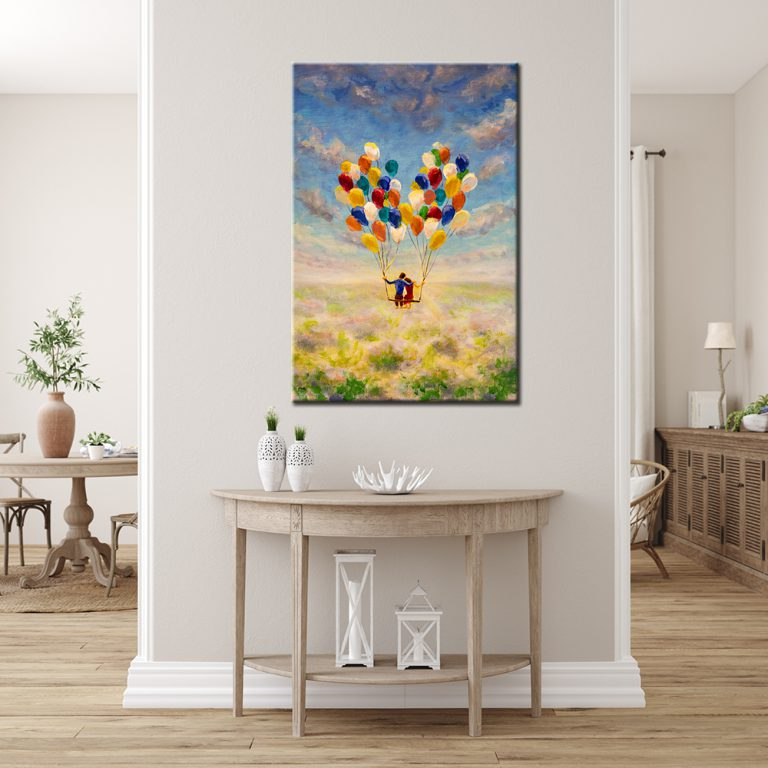 Our Balloon Love Canvas Print is a Portrait Print that comes in a range of sizes, s, m, l, xl